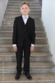 Boys Black Suit with Silver Dickie Bow - Marcus