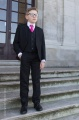 Boys Black Suit with Hot Pink Tie - Marcus