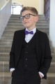 Boys Black Suit with Purple Dickie Bow - Marcus