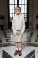 Boys Beige Cotton Linen Shorts Suit - Marvin