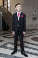 Boys Black & Ivory Tail Suit with Hot Pink Cravat Set - Philip