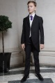 Boys Black & Ivory Tail Suit with Purple Tie - Philip