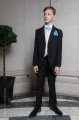 Boys Black & Ivory Tail Suit with Sky Blue Cravat Set - Philip