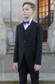 Boys Black Tail Coat Suit with Purple Bow Tie - Ralph