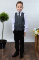 Boys Black Trouser Suit with Blue Large Check Tweed Waistcoat - Chester