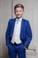 Boys Electric Blue & Ivory Suit with Sky Blue Tie - Bradley