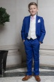Boys Electric Blue & Ivory Suit with Baby Pink Cravat - Bradley