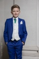 Boys Electric Blue & Ivory Suit with Bottle Green Cravat - Bradley
