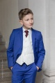 Boys Electric Blue & Ivory Suit with Burgundy Tie - Bradley