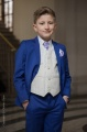 Boys Electric Blue & Ivory Suit with Lilac Cravat Set - Bradley