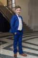 Boys Electric Blue & Ivory Suit with Navy Cravat Set - Bradley