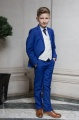 Boys Electric Blue & Ivory Suit with Navy Tie - Bradley