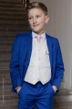 Boys Electric Blue & Ivory Suit with Pale Pink Tie - Bradley