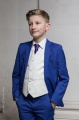 Boys Electric Blue & Ivory Suit with Purple Tie - Bradley