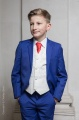 Boys Electric Blue & Ivory Suit with Red Tie - Bradley