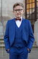 Boys Electric Blue Suit with Burgundy Dickie Bow - Barclay
