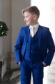 Boys Electric Blue Suit with Gold Tie - Barclay