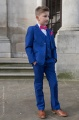 Boys Electric Blue Suit with Hot Pink Bow & Hankie - Barclay