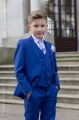 Boys Electric Blue Suit with Lilac Cravat Set - Barclay