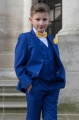 Boys Electric Blue Suit with Marigold Bow & Hankie - Barclay