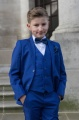 Boys Electric Blue Suit with Navy Bow & Hankie - Barclay