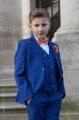 Boys Electric Blue Suit with Orange Bow & Hankie - Barclay