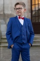Boys Electric Blue Suit with Red Dickie Bow - Barclay