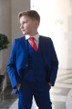 Boys Electric Blue Suit with Red Tie - Barclay