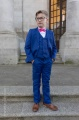 Boys Electric Blue Suit with Hot Pink Dickie Bow - Barclay