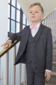 Boys Grey Jacket Suit with Baby Pink Dickie Bow - Oscar