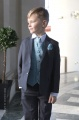 Boys Grey & Blue Scroll Jacket Suit - Oliver