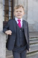 Boys Grey Jacket Suit with Hot Pink Tie - Oscar