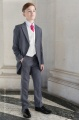 Boys Grey & Ivory Tail Suit with Hot Pink Tie - Melvin