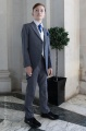 Boys Grey & Ivory Tail Suit with Royal Cravat Set - Melvin