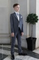 Boys Grey & Ivory Tail Suit with Silver Cravat Set - Melvin