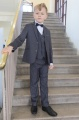 Boys Grey Jacket Suit with Navy Dickie Bow - Oscar