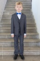 Boys Grey Jacket Suit with Royal Dickie Bow - Oscar