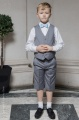 Boys Light Grey Shorts Suit with Sky Blue Dickie Bow - Harry