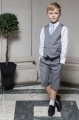 Boys Light Grey Shorts Suit with Sky Blue Tie - Harry