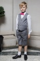 Boys Light Grey Shorts Suit with Hot Pink Dickie Bow - Harry