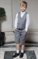 Boys Light Grey Shorts Suit with Ivory Tie - Harry