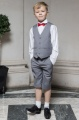 Boys Light Grey Shorts Suit with Red Dickie Bow - Harry