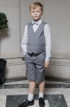 Boys Light Grey Shorts Suit with Silver Dickie Bow - Harry