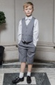 Boys Light Grey Shorts Suit with White Dickie Bow - Harry