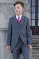 Boys Grey Tail Coat Suit with Hot Pink Tie - Earl
