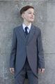 Boys Grey Tail Coat Suit with Navy Tie - Earl