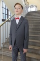 Boys Grey Tail Coat Suit with Red Bow Tie - Earl