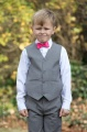 Boys Light Grey Trouser Suit with Hot Pink Dickie Bow - Thomas