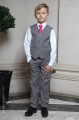 Boys Light Grey Trouser Suit with Hot Pink Tie - Thomas