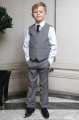 Boys Light Grey Trouser Suit with Navy Tie - Thomas